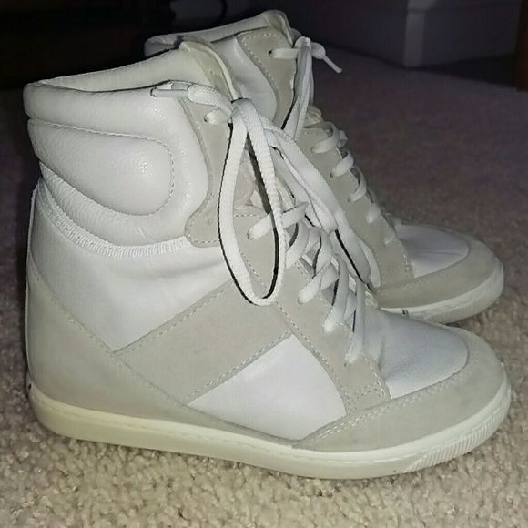 WEDGE  SNEAKERS ASOS DENY high top wedge SNEAKERS Get additional height with this hidden heel sneaker. White suede accents and leather, size 37, lace up, made in Italy, wedge sneaker,  in real good condition. ASOS Shoes Wedges