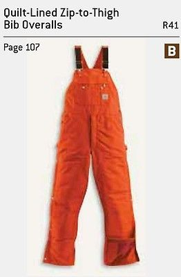 Carhartt Men's Duck QUILT Lined Zip to Thigh Bib Overalls Blaze Orange 34x32 R41