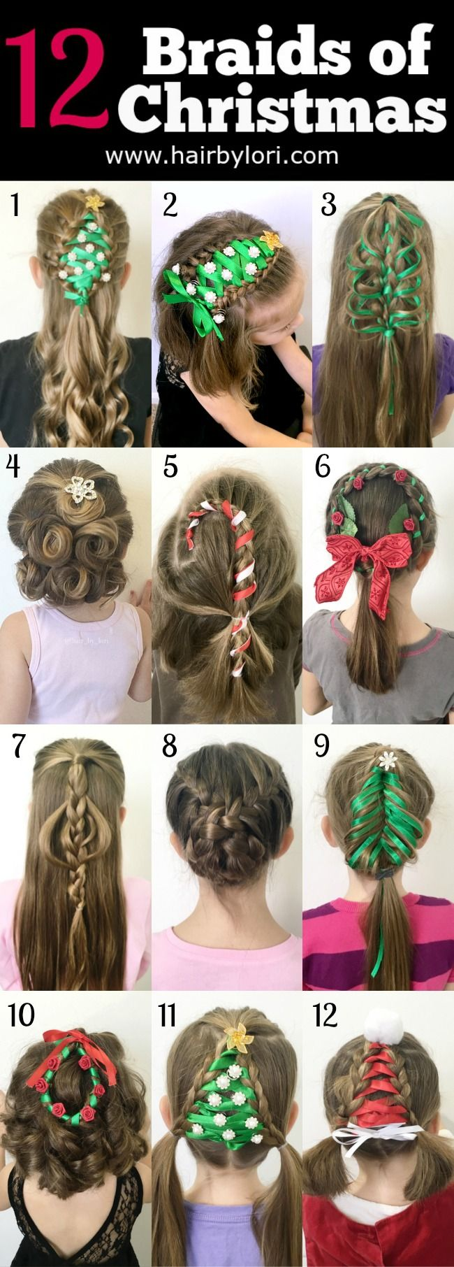 12 Braids of Christmas - GREAT holiday hairstyles,with links to tutorials for all!