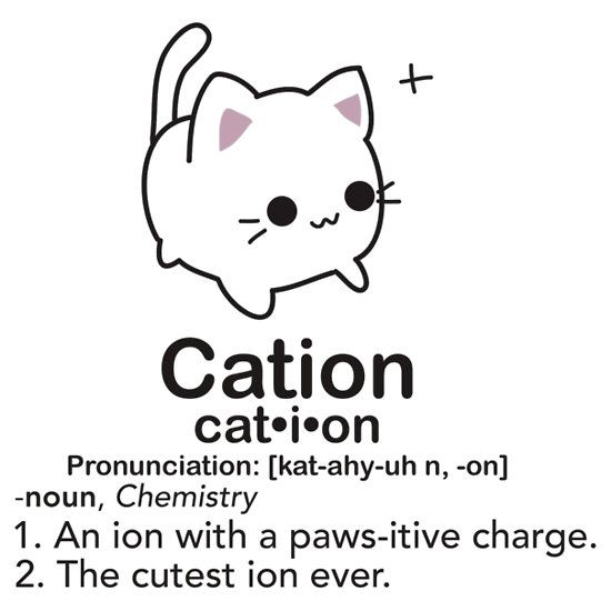 Kawaii cation chemistry pun t-shirt design! Gotta love science puns/humor!