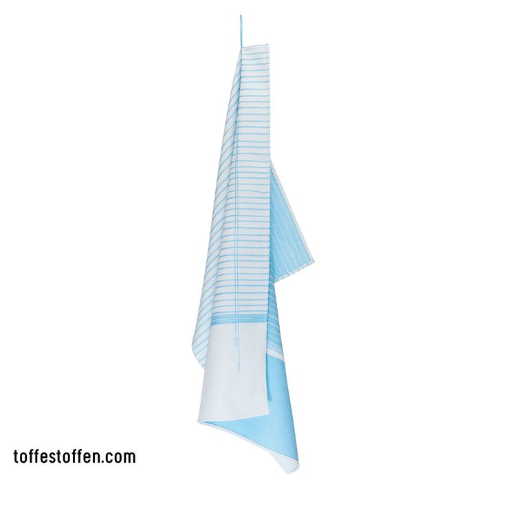 Elegant - blue. Tea towel 100% bio cotton. Woven in Dutch TextileMuseum Tilburg. Loop is extension of the print. www.toffestoffen.com