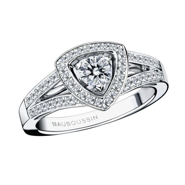 Bague Dream & Love, or blanc, diamant 0,20 carat , pavage diamants - Mauboussin
