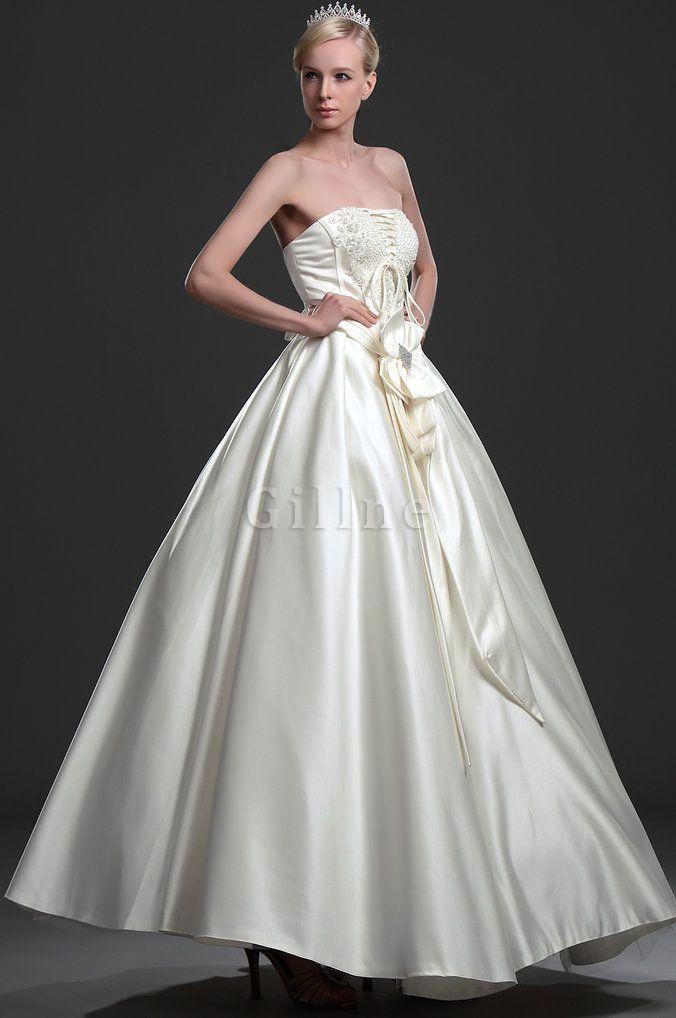 Robe de mariée long fourreau avec bijoux en satin de bustier satin extensible