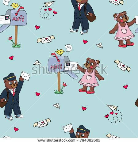 A seamless pattern with teddy bears who receive postcards with congratulations.  Illustration can be used for decoration of offices, notebooks, posters, greeting cards, invitations, textiles, clothing