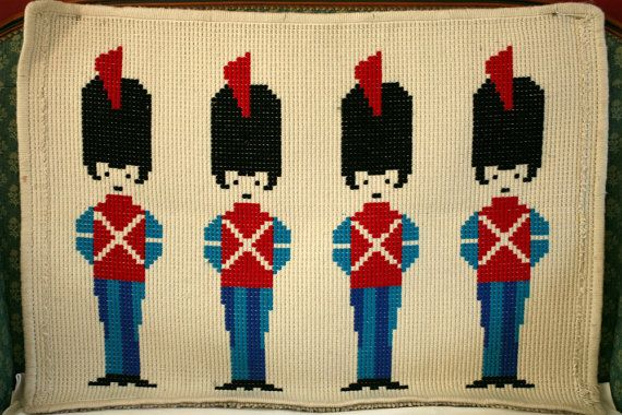 Scandinavian Tapestry Toy Soldier  1960s / Mid-century Modern Wall Hanging or Rug / Nutcracker Royal Guard
