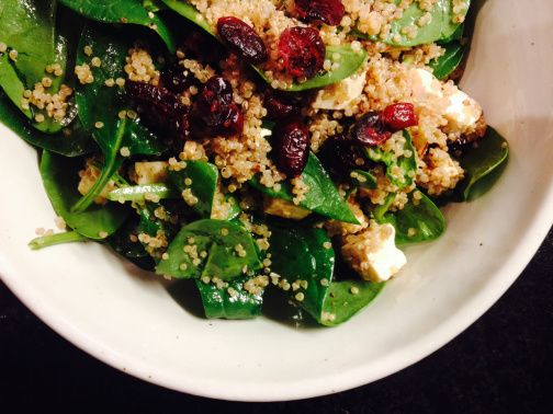 spinach quinoa feta salad with cranberries :: by radish*rose