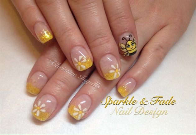 Cute Bumble Bee Nails by SparkleFade from Nail Art Gallery