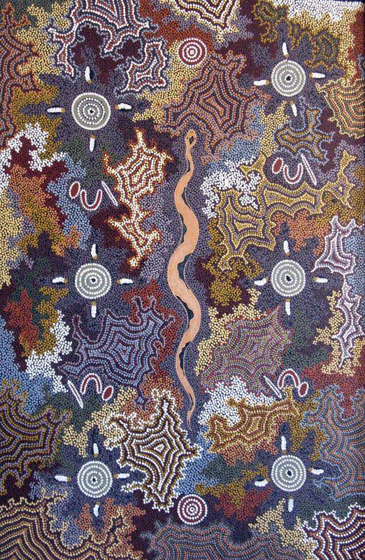 Snake and Witchetty Grub Dreaming by Mary Dixon Nungurray, Australia. 135 x 90 cm