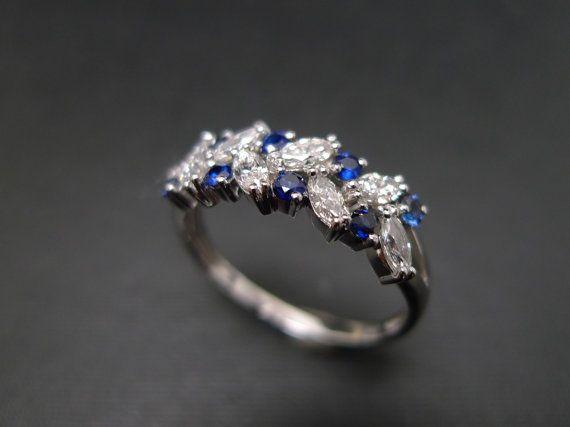 Marquesa de diamante y azul zafiro anillo de por honngaijewelry