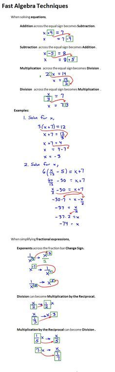 Algebra Techniques. Great for Common Core prep.