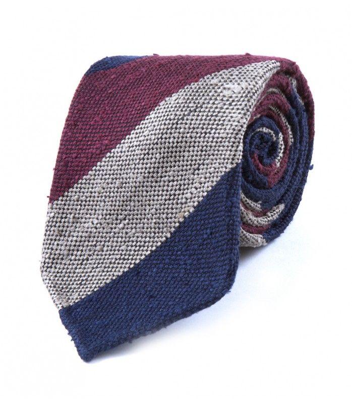 Wine Woven Shantung Block Stripe Tie