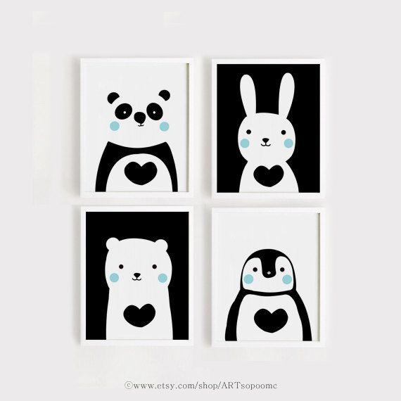Afdrukbare baby Art Set van 4 schattige dieren kunst afdrukken