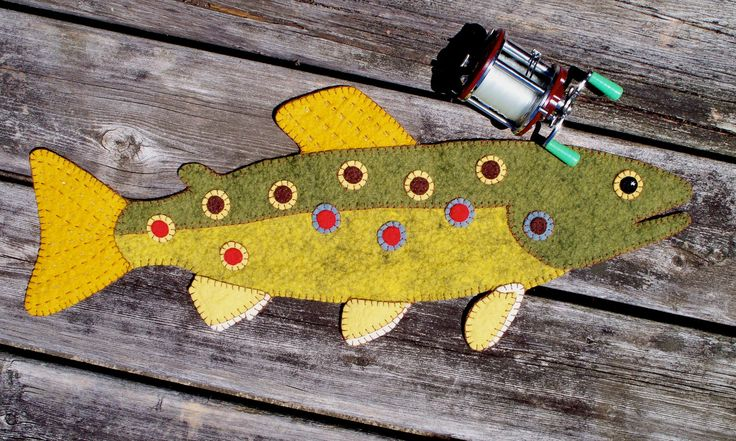 A Brown Trout Wool Felt Penny Rug