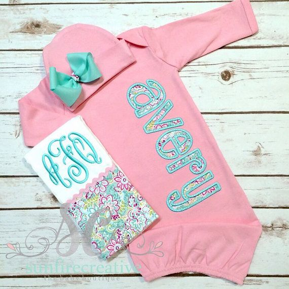 Girl Coming Home Outfit Baby Girl Gown Baby by sunfirecreative
