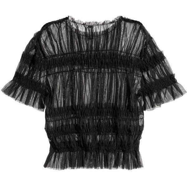 Mesh Top with Smocking $17.99 ($18) via Polyvore featuring tops, shirred top, rouched top, mesh top, smock top and smocked top