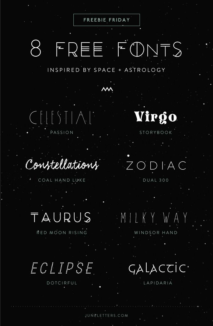 8 Free Fonts inspired by Space + Astrology Celestial / Virgo / Constellations / Zodiac / Taurus / Milky Way / Eclipse / Galactic