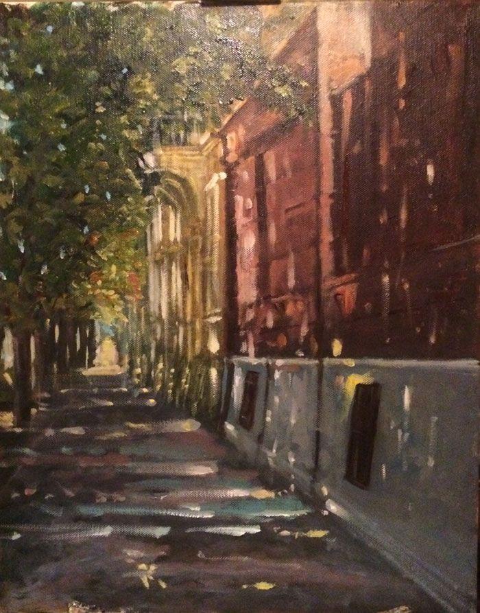 Járda  Sidewalk  Kaldırım  50 x 40 cm oıl on canvas
