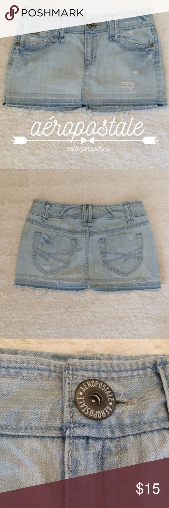 Aéropostale Distressed Jean Skirt Great condition! Size 3/4. Comes from a smoke free/pet free home! Aeropostale Skirts Mini
