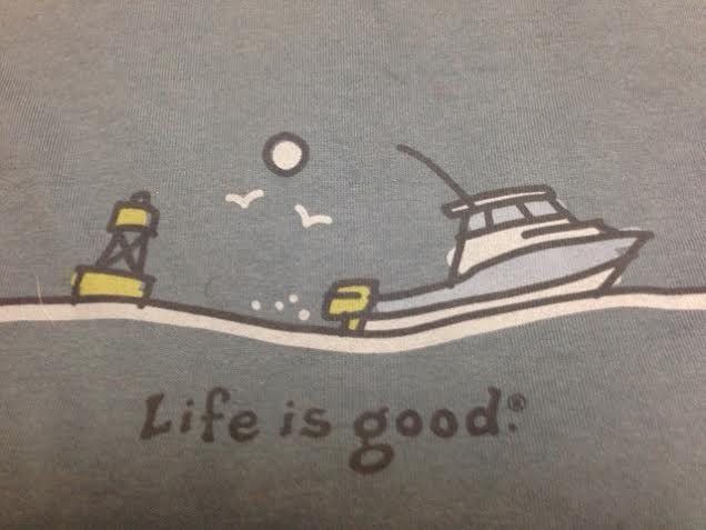 "Life is good brand men's long sleeved shirt in dark blue. ""Life is good"""