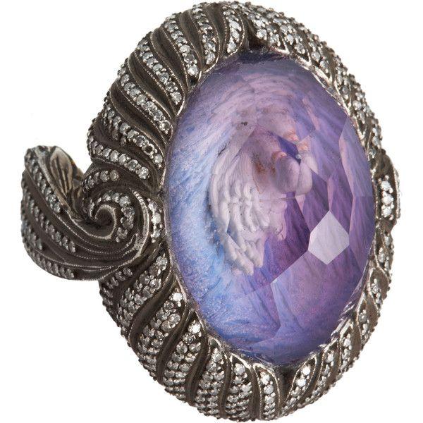 Sevan Biçakçi Swan Intaglio Ring ❤ liked on Polyvore featuring jewelry, rings, holiday jewelry, gemstone jewelry, gemstone rings, cocktail rings and sevan bicakci jewelry
