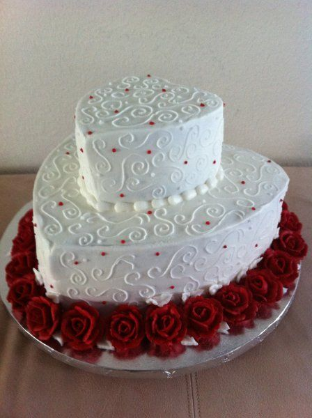 Elegant Modern Red White Multi-shape Wedding Cakes Photos & Pictures - WeddingWire.com