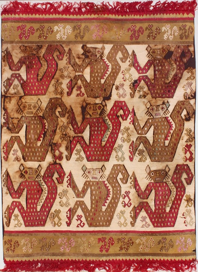 Textile used for a Tunic or Mantle, Peru; Chimú. Circa 1100–1450, made from cotton warp and camelid wool weft. Slit tapestry weave with dovetailing.