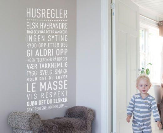 Happylines.no - 'Husregler' Wallsticker