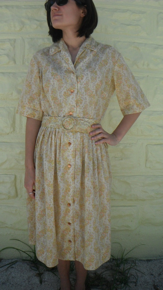 Vintage 50's Pinup Yellow Floral Day House Dress  by ReallyRelish, $46.00