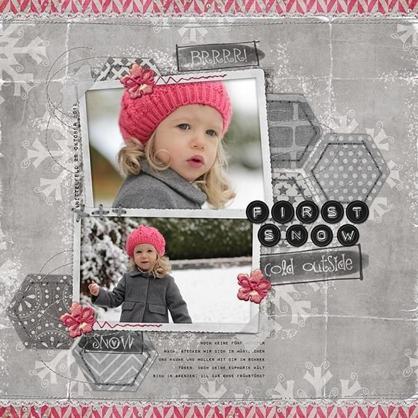 Sweet Gray & Pink Scrapbook Layout... by lego. by Frances I like the grey background instead of black and white photo...Neat!!