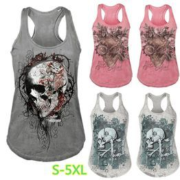 6dc400ac64dd0 Plus Size 5XL Punk Style Women s Floral Skull Print Casual Vest O-neck Sleeveless  Tank Tops