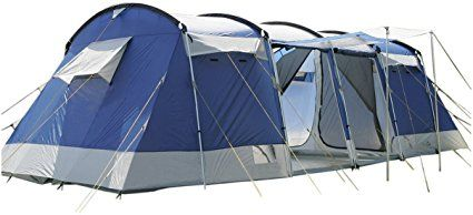 skandika Montana 8 Personen Familien-Zelt blau, wasserdicht durch starke 5.000 mm Wassersäule. Großes, geräumiges und robustes Outdoor Camping-Zelt, Tunnel-Zelt mit 4 Schlaf-Kabinen, Insekten-Netzen und über 2 m Stehhöhe