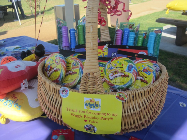 Talen's 2nd birthday Wiggles theme party favor table