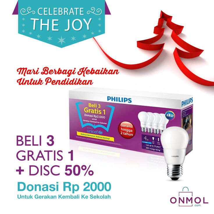 Sambut keceriaan Natal bersama OnMol! Mari belanja hemat, sambil berbagi kebaikan bagi pendidikan dengan membeli Lampu Philips LED Paket Beli 3 Gratis 1 di OnMol. Yuk, klik OnMol sekarang! #OnMolID #onlineshop #CelebrateTheJoy