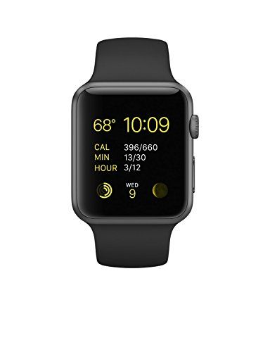 Apple Watch Sport 42mm Space Gray Aluminum Case with Black Sport Band http://www.thesterlingsilver.com/product/fossil-womens-wrist-watch-es3589/