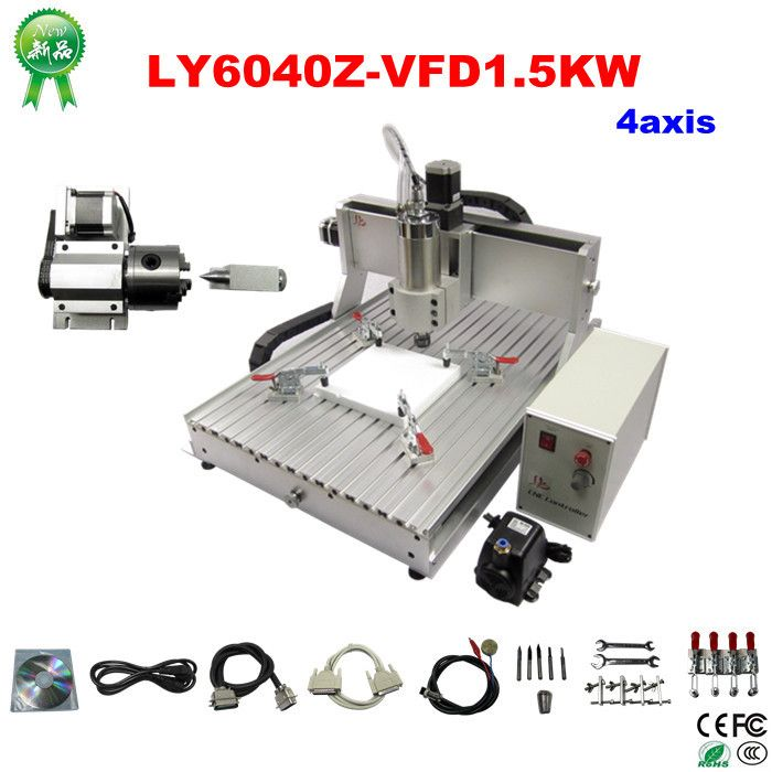 4 axis cnc engraver machine 6040 cnc router with 1.5KW power for metal wood stone, free tax to EU countries