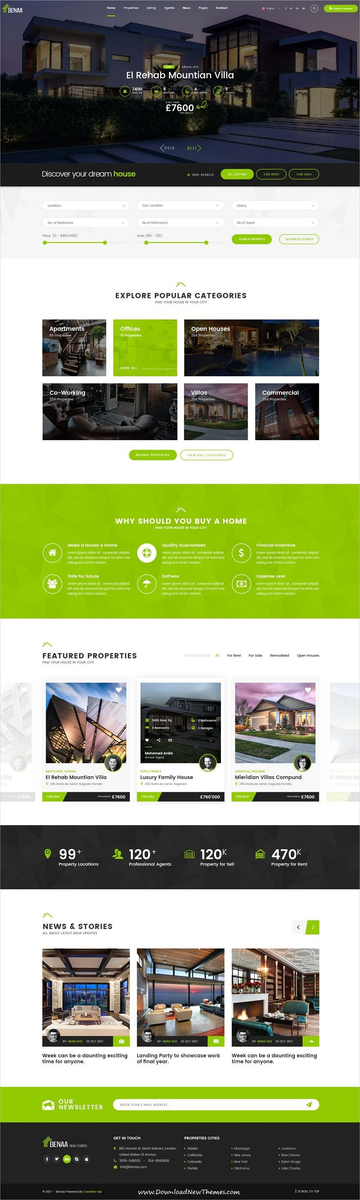 Benaa is clean and modern design PSD template for #realestate and #property business website with 35 layered psd pages to live preview & download click on Visit  #psdmockups