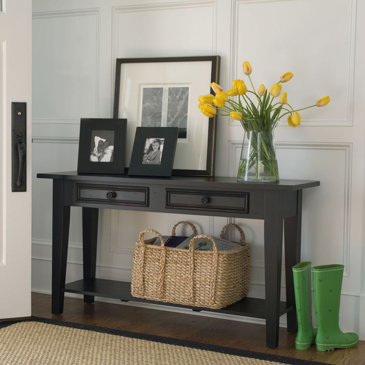 I'm picturing this as a front hallway station to drop the keys, purse and other things that trailed along after you during the day. - Peter Sofa Table - Ethan Allen US