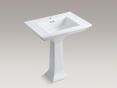 "Kohler Memoirs® Stately 30"" pedestal bathroom sink with single faucet hole."