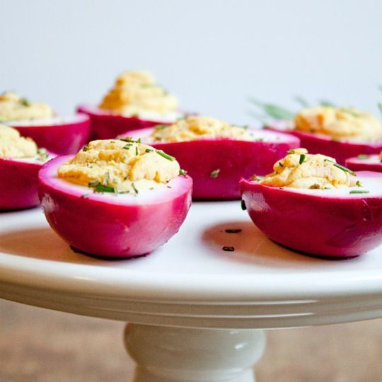 Is there a more beloved party food than a platter of freshly deviled eggs? The humble and classy appetizer gets sassed up when plunged into a jar of beets, vinegar, brown sugar, and pink peppercorns. This unique twist will turn heads and delight tummies!