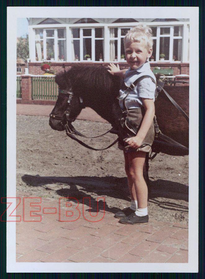Винтажный цветной фотографии сладкий маленький мальчик в кожаные шорты с лошади пони 1962 | eBay