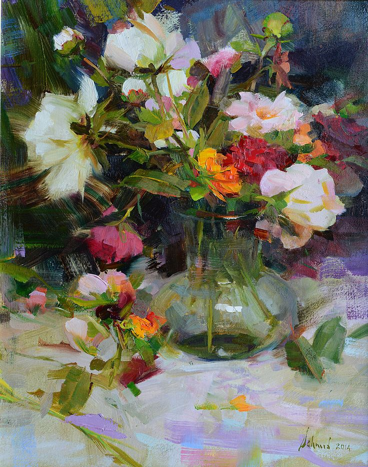 Red Roses & Peonies is one of Richard Schmid's new floral still life paintings for our Nov. show! Sold