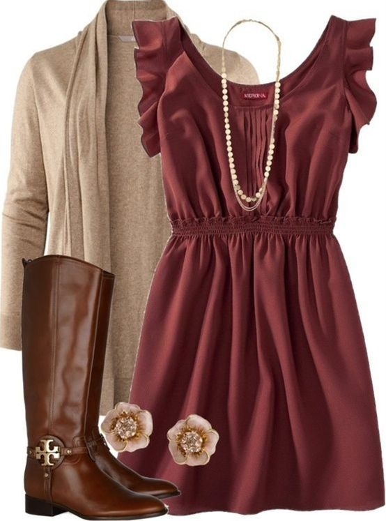 Simple and classic. and wonderful for engagement pictures or family fall photos, love the cardigan,dress, colors and accessories #engagementpHOTOIDEAS - what to wear for engagement photos