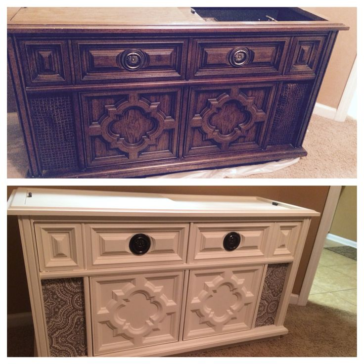 Antique stereo cabinet makeover