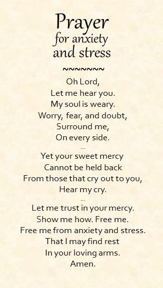 A simple prayer for anxiety and stress.... Don't you know I need this..