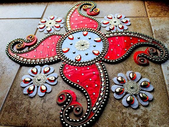 Kundan rangoli Acrylic Rangoli with Marble look by JustForElegance
