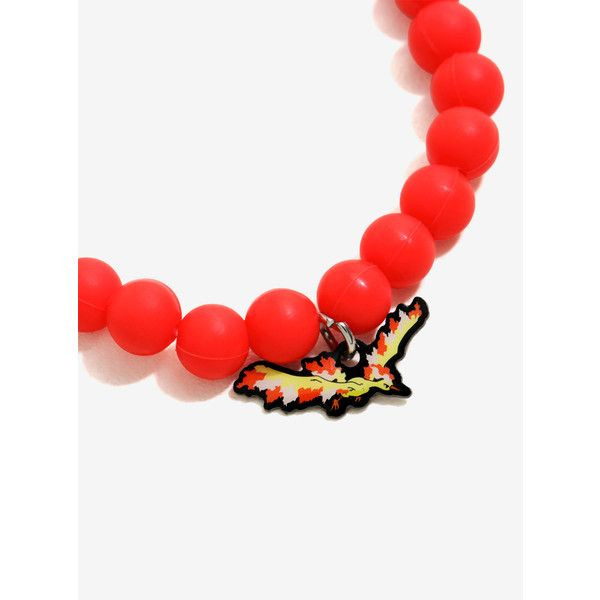 Pokemon Moltres Bracelet ($7.56) ❤ liked on Polyvore featuring jewelry, bracelets, accessories, beads jewellery, red jewelry, charm bangles, beaded bangles and beaded jewelry