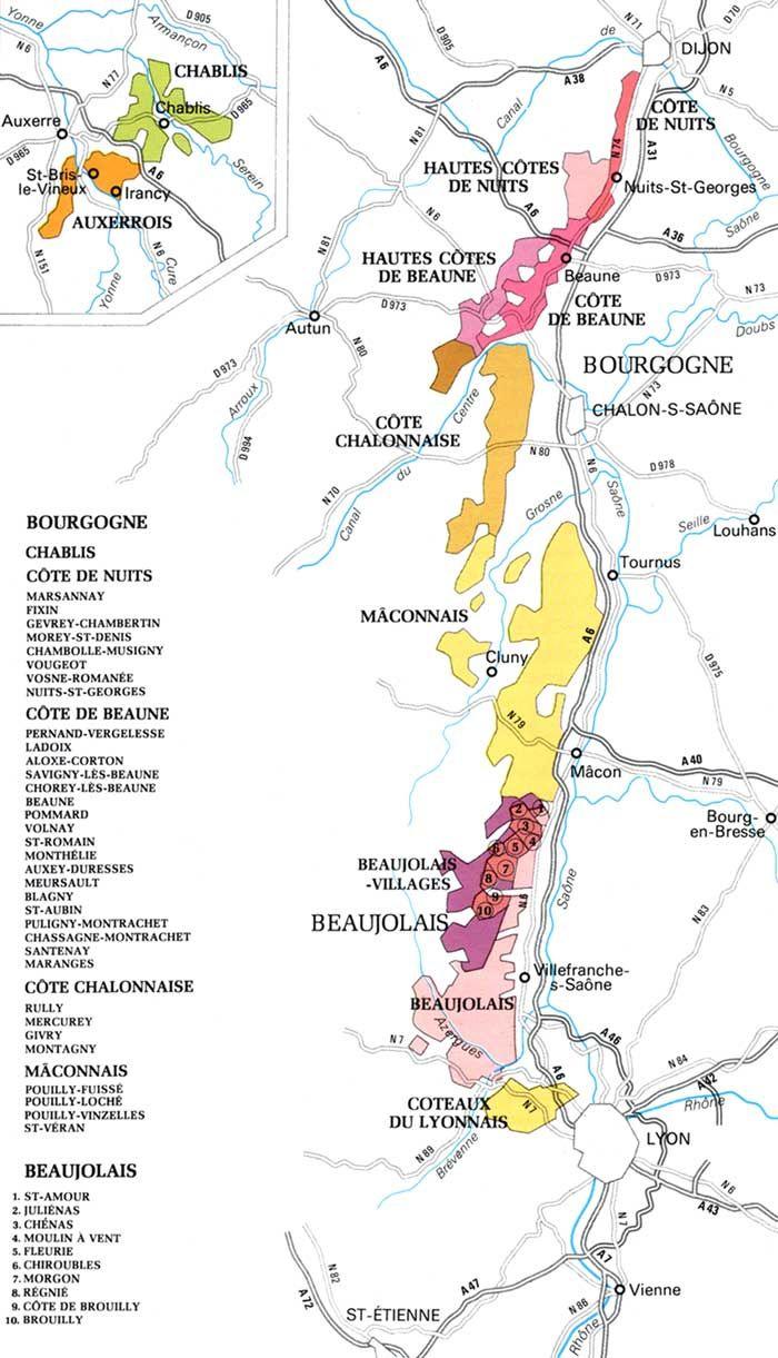 Map of major wine regions of Burgundy