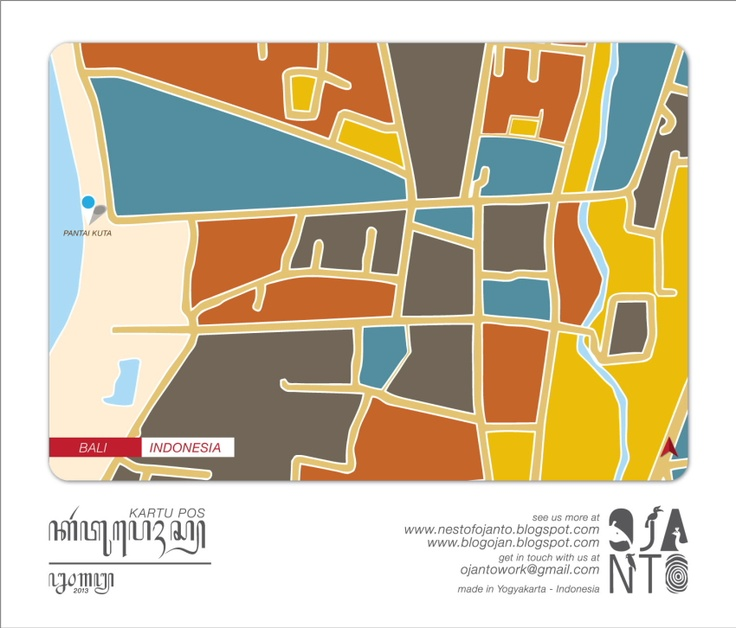 Indonesian City Maps Postcard Series (January 2013) | Bali - Indonesia | special spot : Pantai Kuta | Postcard Design by Ojan