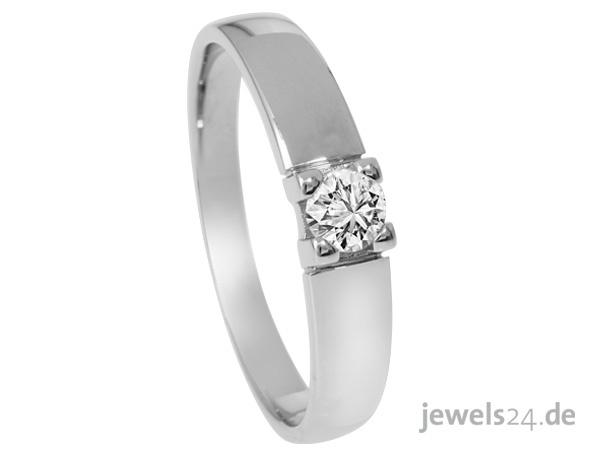 Solitaire Ring, in Weißgold mit 1 Diamant im Brillantschliff besetzt. Der Diamant hat ein Carat -Gewicht von ca. 0,25 ct. in der Farbe getöntes Weiß und Reinheit Lupenrein. Gefasst ist der Diamant in einer sog. Krappenfassung. Als Ostergeschenk von www.jewels24.de genau passend zum kommenden Frühling. Ostergeschenke aus Diamant edel und denoch günstig in unserem online Schmuck Shop. #ostern #schmuck #geschenk #diamantring #onlineshop