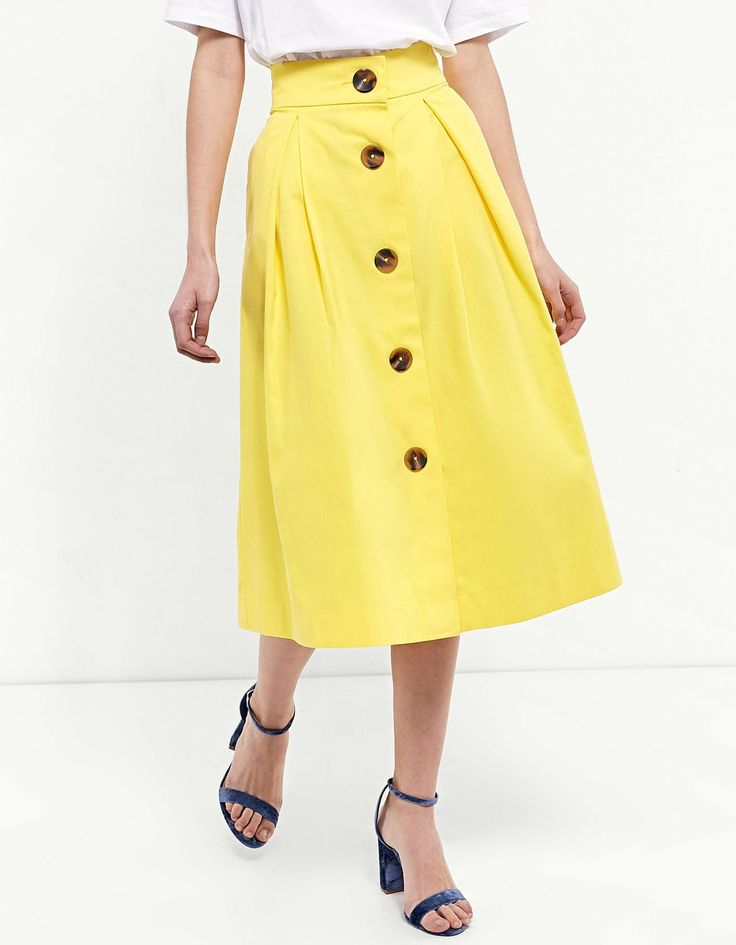 Buttoned midi skirt - Skirts | Stradivarius Poland